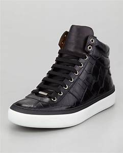 Jimmy choo Belgravia Crocstamped Hitop Mens Sneaker Black ...