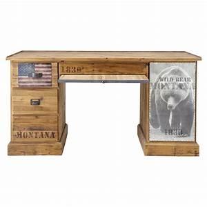 Bureau En Pin : bureau en pin bois ours pionnier maisons du monde ~ Teatrodelosmanantiales.com Idées de Décoration