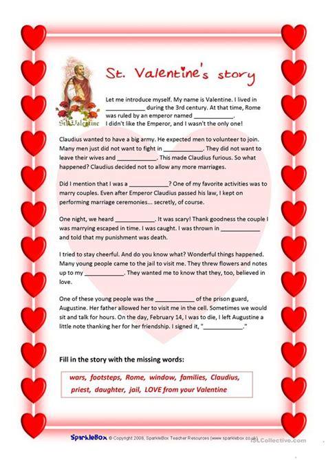 st valentines story  valentines quiz worksheet