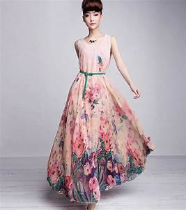 Long floral print bridesmaid dress fashion gallery for Long floral dress for wedding