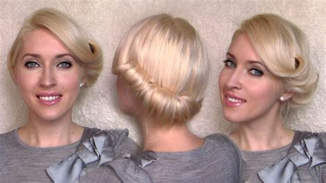 side swept rolled updo hairstyle  medium short hair