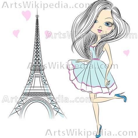 paris fashion cartoon girl   stock images