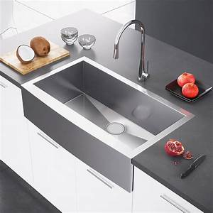 exclusive heritage 36 x 21 single bowl stainless steel With apron vs farmhouse sink