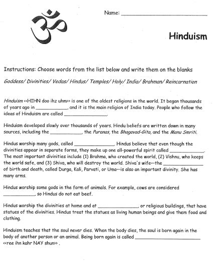 hinduism worksheets wiildcreative