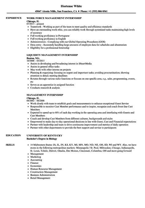 resume internships management internship resume sles