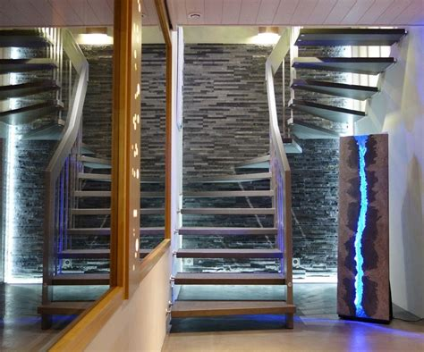 eclairage cuisine led escalier béton inox bois design 2 quart tournant eclairage