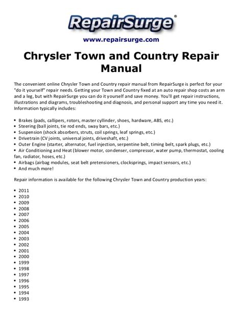 car owners manuals free downloads 2002 chrysler town country engine control chrysler town and country repair manual 1990 2011
