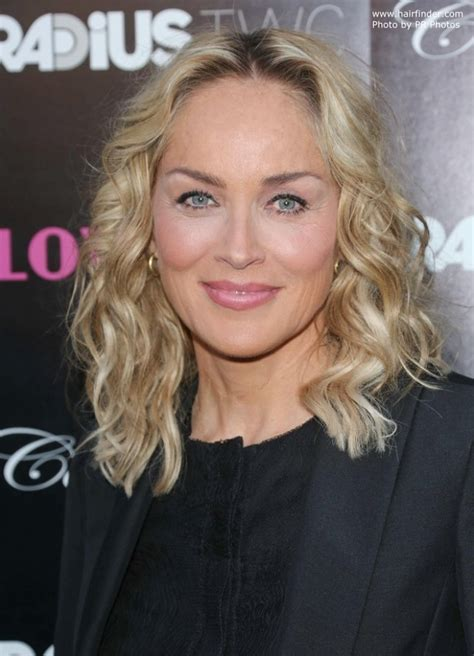 sharon stone curled medium length hair   youthful