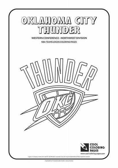 Nba Coloring Basketball Printable Thunder Logos Oklahoma