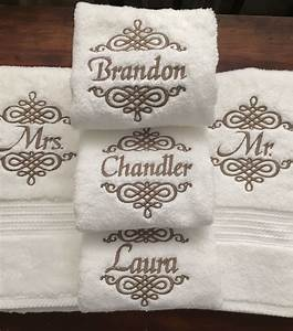 Set of mr and mrs monogrammed towels creative for Embroidered towels for wedding gift