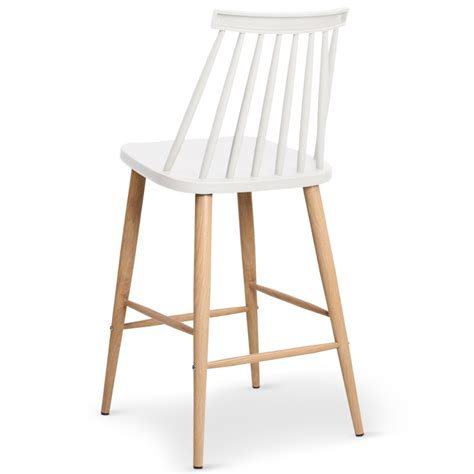 Chaises De Bar Scandinaves Gunda Blanc  Lot De 2 Pas Cher