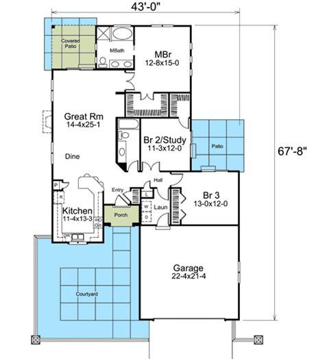 narrow lot courtyard home plan ha st floor master suite courtyard den office library