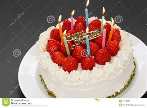 birthday cake with burning candles stock photo image 17910206