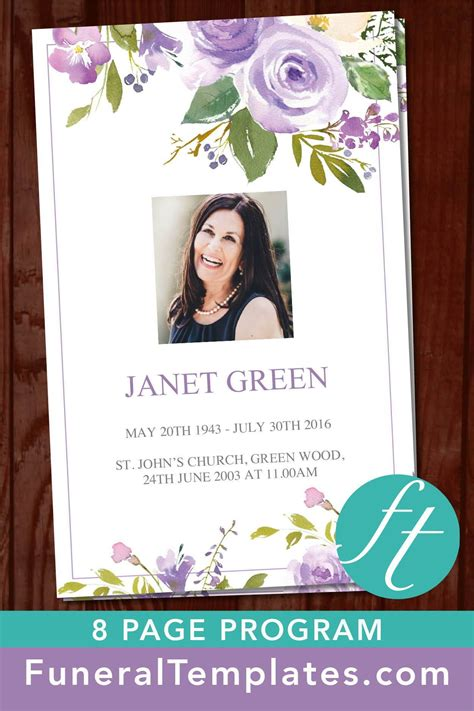 template card for funeral flowers 8 page lilac bouquet funeral program template floral
