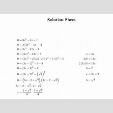 Quadratic Equation Questions By Completing The Square Worksheet By Joezhou  Teaching Resources