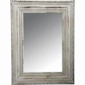 Grand Miroir Rectangle Avec Cadre En Bois Blanc Achat
