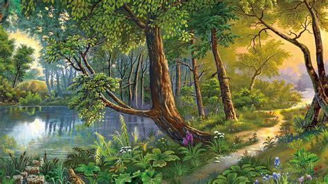 Beautiful Landscape, Nature Art River, Trees, Flowers Hd