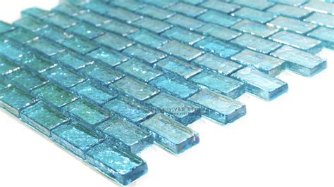 turquoise blue glass ls iridescent brick glass mosaic turquoise and cobalt blue