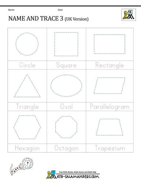 shape tracing worksheets kindergarten