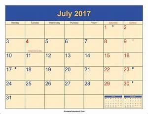 July 2017 Calendar Printable with Holidays PDF and JPG