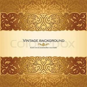 Vintage background, antique, victorian golden ornament