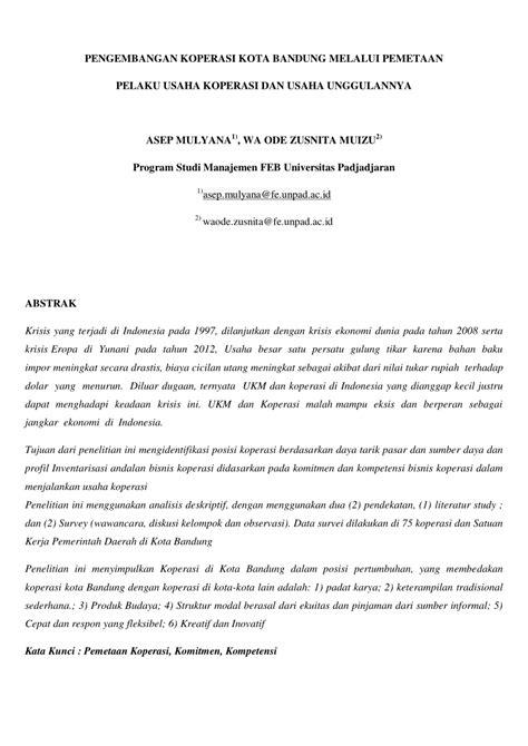 (PDF) PENGEMBANGAN KOPERASI KOTA BANDUNG MELALUI PEMETAAN