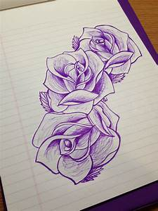 Rose sketch drawing beautiful design three flowers ...