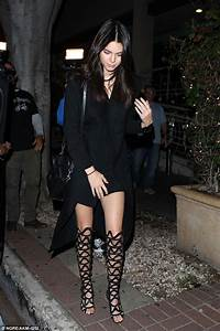 Kendall Jenner shows off in sexy thigh-high sandals with ...