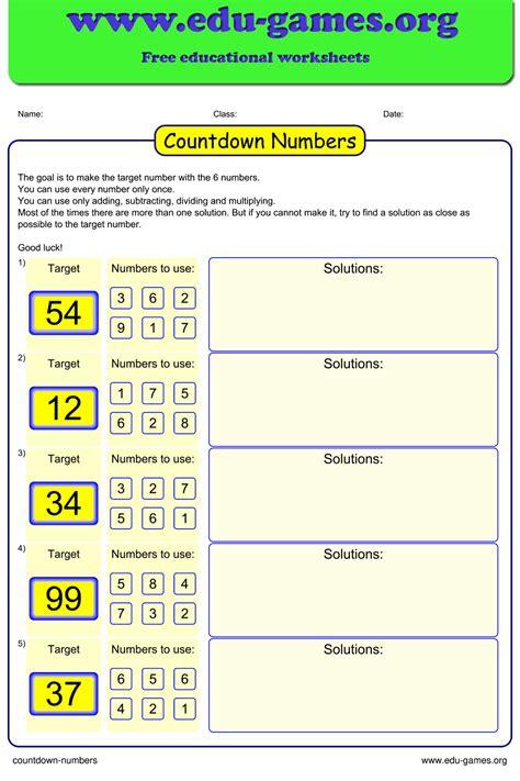 countdown numbers worksheet  printable math game