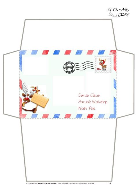 craft envelope letter  santa claus border reindeer