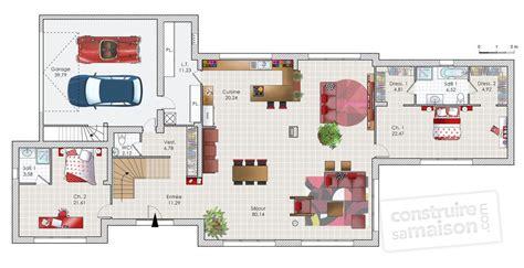 photo de cuisine ouverte sur sejour vaste maison de standing dé du plan de vaste maison