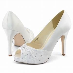 womens white satin beads wedding dress peep toe platform With wedding dress heels