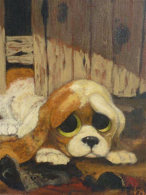 dog art adorable big eye puppy oil painting   dg