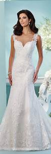 Lace tulle over satin fit flare wedding dress 216256 linna for Fit and flare tulle wedding dress