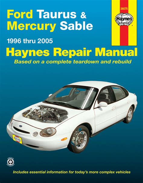 car manuals free online 1996 mercury tracer engine control haynes 36075 repair manual ford taurus mercury sable 1996 thru 2005 ebay