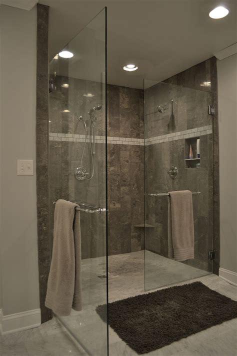 grey tile shower and marble bath ideas