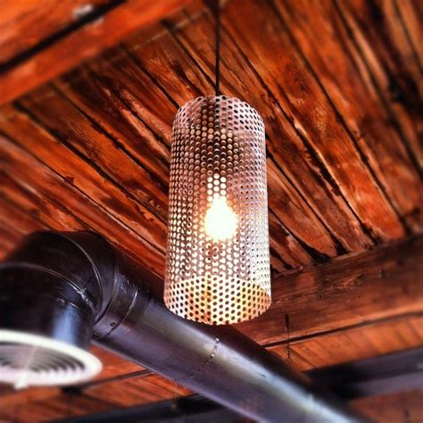 hand crafted custom perforated metal pendant lights
