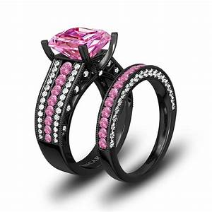 pink and white cubic zirconia cushion cut engagement ring With black and pink wedding ring sets