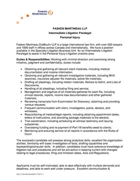 personal injury lawyer resume sle intermediate