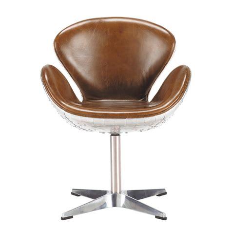 fauteuil vintage en cuir marron harisson maisons du monde