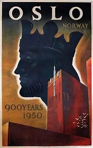 Printed Invoice Original Vintage Poster Oslo Norway 900 Years 1950