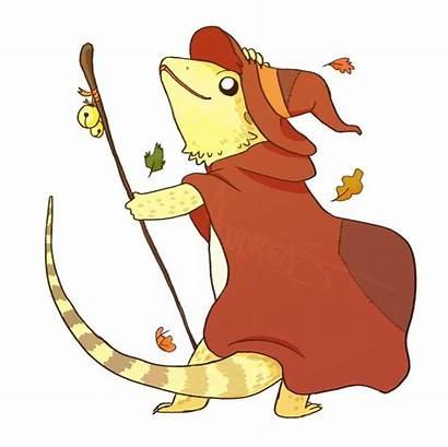 Dragon Bearded Lizard Wizard Drawing Dnd Fantasy
