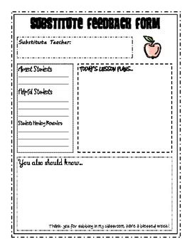 free substitute teacher forms simple substitute feedback form by amie lowrimore tpt