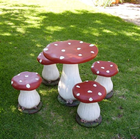 mushroom table and chairs set fairy toadstool table and chair set