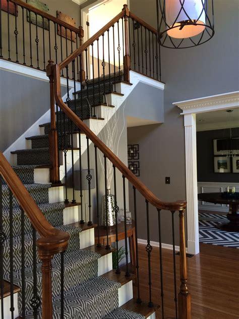 diy stair re do wall color benjamin galveston gray