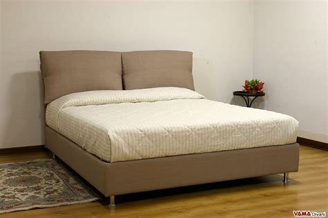 Fabric Bed With Two Upholstered Cushions As Headboard