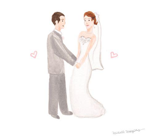 Wedding Couple Illustrations   Mospens Studio