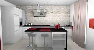 Deco cuisine moderne blanc for Deco mur cuisine moderne