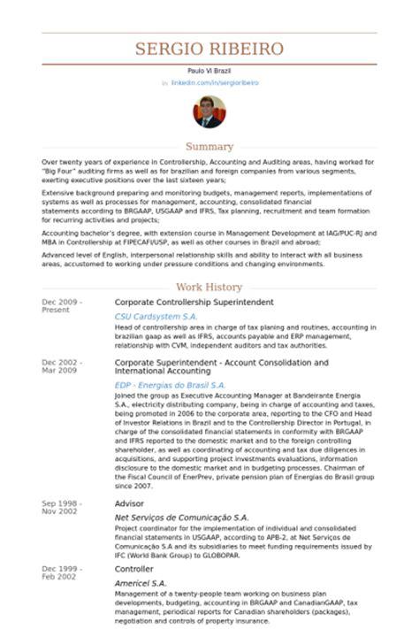 corporate controller resume sles visualcv resume
