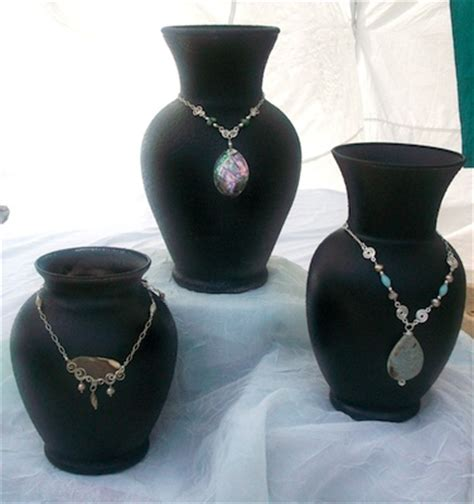 using vases as necklace displays jewelry journal